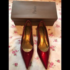 Pre Owned Paolo Ruby Red Kitten Heel Shoes